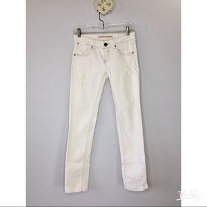 Stradivarius UK white distressed skinny jeans